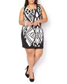 Plus Size Graphic Print Shift Dress Mod Fashion, Curvy Fashion, Fashion Looks, Trendy Plus Size Fashion, Stylish Plus, Plus Size Outfits, Trendy Outfits, Chic And Curvy, Print Shift