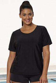 ca91a091b4bf1 Swim Tees  amp  Rash Guards - Aquabelle UPF 50+ Black Swim Tee Girls Wear