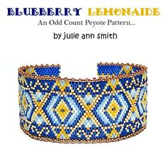 Julie Ann Smith Designs BLUEBERRY LEMONAIDE Odd Count Peyote Bracelet Pattern