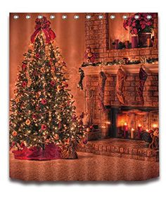 Merry Christmas Season Eve New Year Decorative Decor Gift Shower Curtain Polyester Fabric 3D Digital Printing 72x72 Mildew Resistant Warm Gold Fireplace Tree Stocking Bathroom Bath Liner Set Hooks -- Visit the image link more details. (This is an affiliate link)