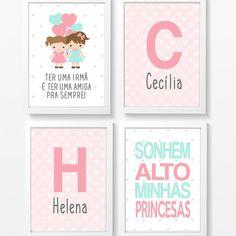 Quadros infantil Irmãs Meninas Balões no Baby Room Art, Creative Workshop, Learning Spaces, Alphabet And Numbers, Kids Bedroom, Decoration, Alice, Homeschool, Lettering