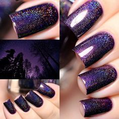 Homecoming - Eggplant Purple Holographic Nail Polish by ILNP Acrylic Nails Coffin Pink, Square Acrylic Nails, Fall Acrylic Nails, Acrylic Nail Designs, Black And Purple Nails, Purple Nail Art, White Nails, Fancy Nails, Trendy Nails