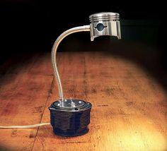 Jug and piston desk lamp