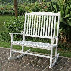 The Outdoor Double Rocking Chair gives you a comfortable place to relax on your porch or patio and enjoy the outdoors. The seat is wide enough to comfortably seat two people, and you can easily add cushions for extra comfort if needed. Double Rocking Chair, Rocking Bench, White Rocking Chairs, Wooden Rocking Chairs, Outdoor Rocking Chairs, Chair Bench, Diy Chair, Adirondack Chairs, Porch Rocking Chair