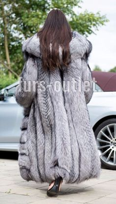 NEW SILVER ROYAL FOX FUR LONG COAT HOOD CLASS- CHINCHILLA SABLE MINK JACKET VEST