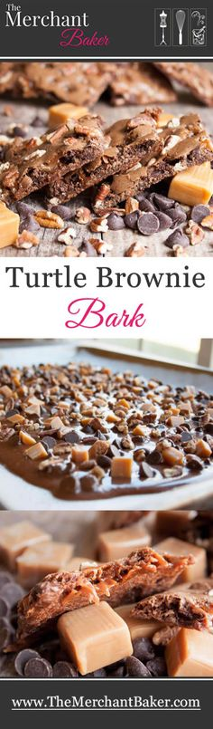 Turtle Brownie Bark. Thin, crispy, chewy, brownies with caramel and pecans make for an addictive treat!