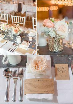 grey white and peach table decor / http://www.himisspuff.com/kraft-paper-wedding-decor-ideas/5/