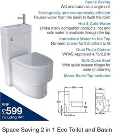 Toilet and sink combo - fantastic for space saving - compact living