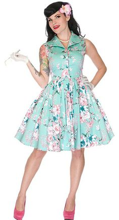 You'll be living a pinup fantasy in the enchanting Seafoam Dream Swing Dress! #blamebetty #pinupstyle
