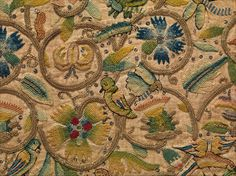 Coif Date: early 17th century Culture: British Medium: Linen embroidered with silk and silver-gilt wrapped thread and spangles