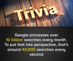 #Trivia: #Google processes over 10 billion searches every month. To put that into perspective, that's around 40,000 searches every second.   #digital #NYC #websitemanagementtools #SEOtools #digital #marketing #website #design #business #NewYork #DigitalSecurity #Cloud #OnlineSecurity #Security #CyberSecurity