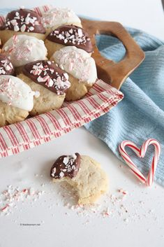 Chocolate Dipped Peppermint Sugar Cookies Recipe - These have the holidays written all over them!  It's my favorite flavor of the season.
