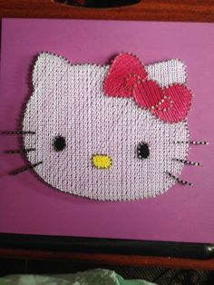 STRING ART: HELLO KITTY STRING ART, MADE WITH YOUR LITTLE GIRL IN MIND, WILL LOOK PERFECT IN HER ROOM. JUST WHAT EVERY HELLO KITTY COLLECTOR NEEDS ONE OF A KIND NO TWO WILL EVER BE THE SAME. $30 interested in purchasing email me at missbea0717@gmail.com