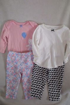 8b0be510b6ea Carter's Baby Girl 2 Pieces Set Size 6 Months Long Sleeves 2 Set #Carters #