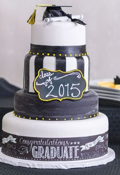 Learn How-To Make a 4-Tier Graduation Chalkboard Cake. Cake decorating tutorial at link.