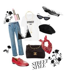 """Street style🌹"" by pirjo-kivimaki on Polyvore featuring Chanel, Givenchy, Helmut Lang, Gucci, Le Specs, Missoma and Clarins"