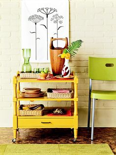 An old bedroom shelving unit becomes a rolling kitchen cart! Love this!
