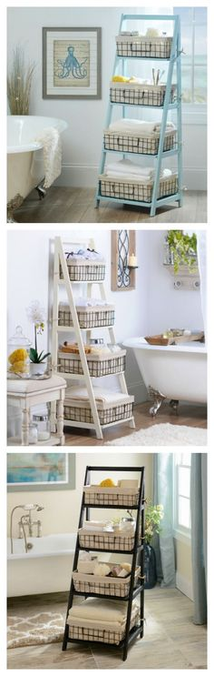 Kirkland's Ladder Shelves are exactly what you need to get your home organizes! Available in cream, black or blue, they are great for your bathroom, playroom or laundry room!