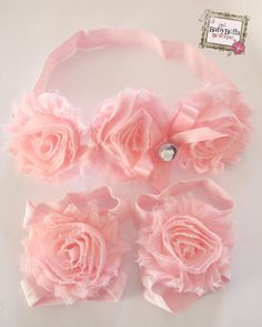Pink Barefoot baby sandals and headband set ,Ready to ship. on Etsy, $14.57 AUD