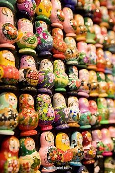 Display of Russian doll fridge magnets in shop, Old Town, Prague, Czech Republic, Europe