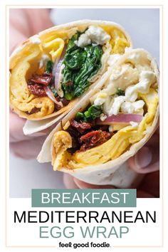 This Mediterranean Egg Wrap is a breakfast sandwich that is packed with protein, color and incredible flavor - perfect for on-the-go mornings! Healthy Breakfast Wraps, Bagel Breakfast Sandwich, Eat Breakfast, Breakfast Recipes, Breakfast Ideas, Brunch Ideas, Wrap Recipes, Egg Recipes, Cooking Recipes