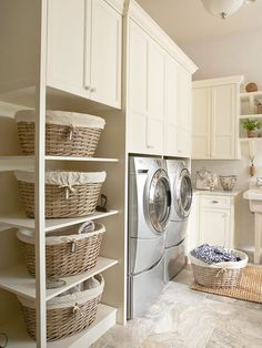 Baskets are a great way to keep your laundry room tidy. More laundry room storage solutions:  http://www.bhg.com/rooms/laundry-room/storage/laundry-room-storage-solutions/?socsrc=bhgpin080413baskets=17