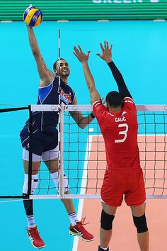 Osmany Juantorena of Italy spikes the ball during CEV Volleyball European Championship pool B match between Croatia and Italy at Torino Palavela Arena on October 2015 in Turin, Italy. Volleyball Wallpaper, Ronaldo Wallpapers, Turin Italy, Collection Company, European Championships, October 10, Spikes, Croatia, Basketball Court