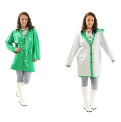 80s Vinyl Raincoat PVC Hooded Reversible Lime Green by ScarletFury, $79.00, https://www.etsy.com/listing/191723818/80s-vinyl-raincoat-pvc-hooded-reversible? Women's vintage spring fashion outerwear for rainy days