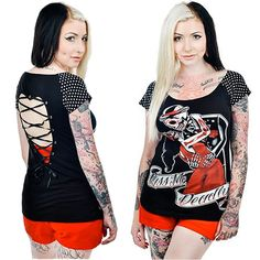 Kiss Me Deadly PYT: http://www.inkedshop.com/womens-kiss-me-deadly-pyt-t-too-fast-blk.html