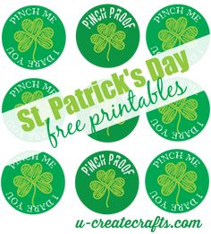 St Patricks Day printables. Make buttons for your kids to wear so they don't get pinched on St. Patrick's day!