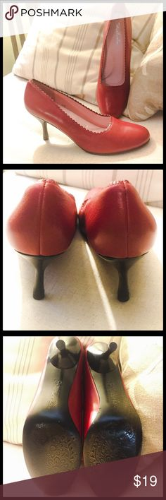 Red Leather Kitten Heels by Schu La La SZ 8 Beautiful red leather kitten heels in great condition with no scuffs and ready to wear! The leather is soft and supple and the design around the opening adds the sass that all red kittens should have! Enjoy and happy Poshing to you!💕 schu la la Shoes Heels