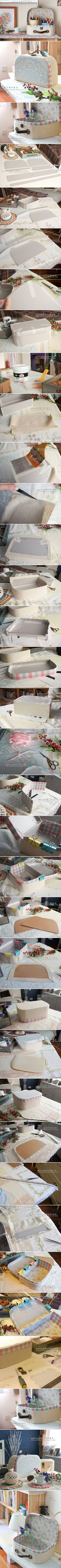 DIY Retro Cosmetic Case Using Cardboard and Fabric DIY. Keep in mind this is not an upcycle; it shows you how to make the case from cardboard. Diy Paper, Paper Crafts, Cardboard Crafts, Diy Box, Cosmetic Case, Diy Projects To Try, Diy And Crafts, Retro, How To Make