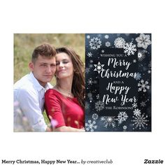 Merry Christmas, Happy New Year greeting design.