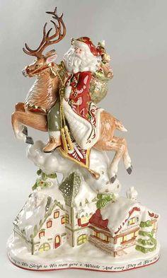Fitz & Floyd ST. NICK Santa Deer Figurine Centerpiece 6960976 #FitzFloyd