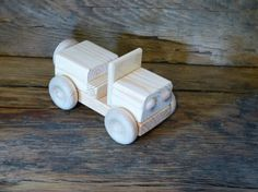 Handmade Wood Toy Jeep Truck Wooden Toys Hand Made WW2 KIds Boys Childs Army Paintable Birthday Gift Present