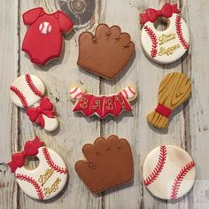 Baseball Baby Shower Cookies! Thank you  thesweetdesignsshoppe for the  awesome rattle 63bd5d702da