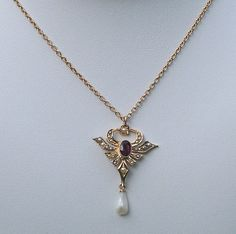 Antique 10k Gold Amethyst Seed Pearl Lavaliere Necklace Offered by Ruby Lane Shop Cousins Antiques