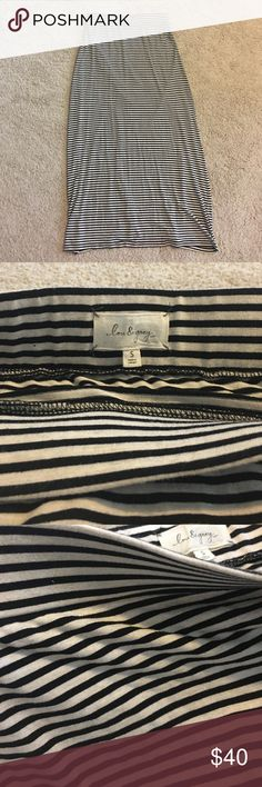 Beautiful maxi skirt NWOT - Soooo soft - this is incredibly comfortable. Never worn. No flaws or imperfections. Black and cream colored stripes. Waist band is very sturdy and stretches nicely if need be. This flows beautifully as you walk. Very high quality. Looks gorgeous with minimalist heels and a crop top. Lou & Grey Skirts Maxi