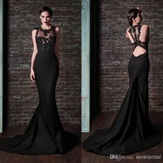 Wholesale Custom Made 2014 Mermaid Evening Dresses Black Lace High Neck Formal Cheap Sexy Backless Celebrity Prom Dress Long Train Vintage Ball Gowns, Free shipping, $137.6/Piece | DHgate Mobile