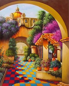 ART~ A Dreamy And Colourful View Of Life In A Typical Mexican Town. ~ Oil On Canvas.