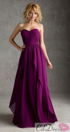 A line Strapless Chiffon Long Bridesmaid Dresses