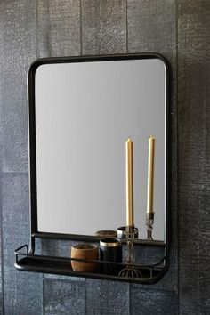 Black Wall Mirror With Shelf
