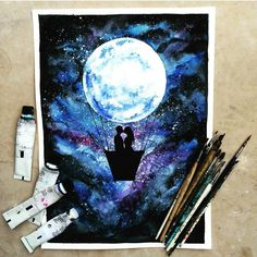 """""""Fly me to the moon By @danielle_foye _ Also check out our new art featuring page @artshelp"""""""