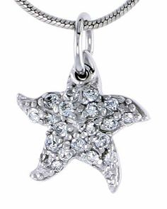 Sterling Silver Jeweled Starfish Pendant, w/ Cubic Zirconia stones, 1/2 inch (13 mm) tall Sabrina Silver. $21.76