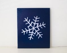 SNOWFLAKE Embossed Silver and Gloss Navy Blue Enamel on Canvas Handmade in St. Louis, MO  Let It Snow, Let It Snow, Let It Snow! The lights are up,