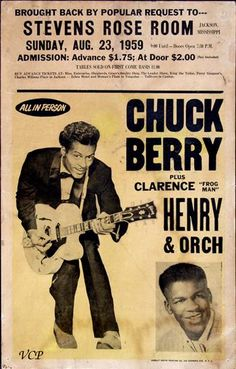 Vintage Concert Posters for chuck berry admission was low as the currency was weaker then. Rock And Roll, Pop Rock, Rock N Roll Music, Vintage Concert Posters, Posters Vintage, Rockabilly, Rock Posters, Band Posters, Recital