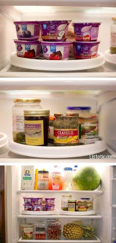 Put a lazy susan in the back corner of your shelves to make it easy to grab everything you have stored back there. | 18 Clever Ways To Organize Your Fridge So It Never Gets Dirty