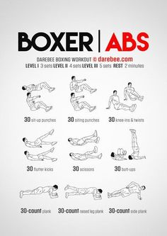 Best abdominal core workouts by Darebee & NeilaRay for stronger abs, allowing you to implement much more variety than your traditional sit-up. Boxer abs aren't only a great way to mix up your workout, but is the best way to build up those abs! Boxer Workout, 300 Workout, Sixpack Workout, Gym Workout Tips, Boxing Workout With Bag, Boxing Training Workout, Punching Bag Workout, Kickboxing Workout, Boxing Workout Routine