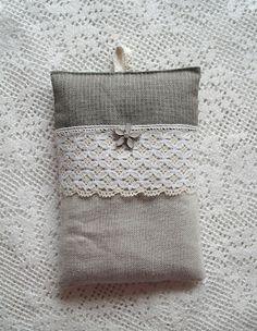 Lavender sachet. Metal flower deco is originally an element from an earring.