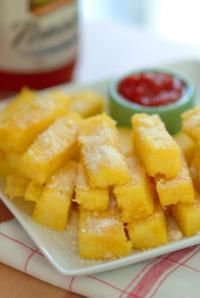 Polenta Fritta- Make this with Pocono's Cream of Buckwheat Cereal and use goat of sheep's milk cheeses to make it not only gluten free, but corn and cow dairy free as well.  Use a mixture of water and light coconut milk for a creamier taste and texture. Yum.